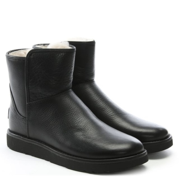 726a526865b 6M Black Leather UGG Abree Mini Boot (Women) NWT
